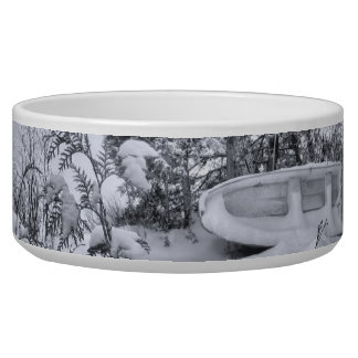 Fishing Boat, Winter Forest, Christmas Snowstorm Bowl