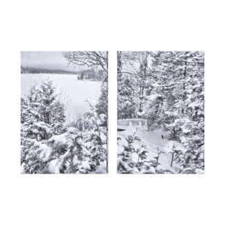 Fishing Boat, Winter Forest, Christmas Snowstorm Gallery Wrap Canvas