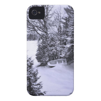 Fishing Boat, Winter Forest, Christmas Snowstorm iPhone 4 Cases