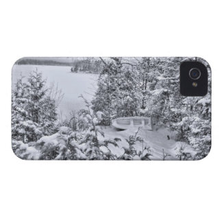 Fishing Boat, Winter Forest, Christmas Snowstorm Case-Mate iPhone 4 Case