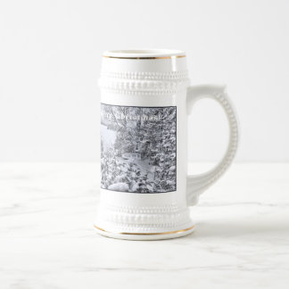 Fishing Boat Winter Forest Christmas Snowstorm Cup