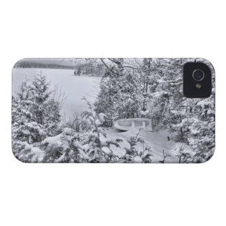 Fishing Boat, Winter Forest, Christmas Snowstorm iPhone 4 Cover