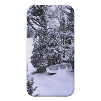 Fishing Boat, Winter Forest, Christmas Snowstorm Covers For iPhone 4