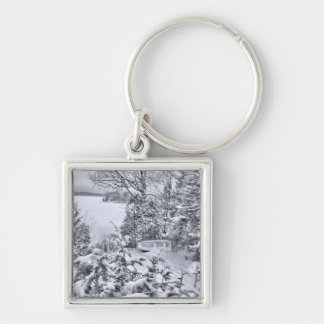 Fishing Boat, Winter Forest, Christmas Snowstorm Keychain