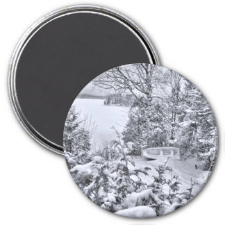 Fishing Boat, Winter Forest, Christmas Snowstorm Magnet