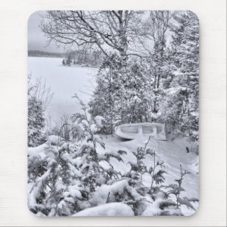 Fishing Boat, Winter Forest, Christmas Snowstorm Mouse Pad