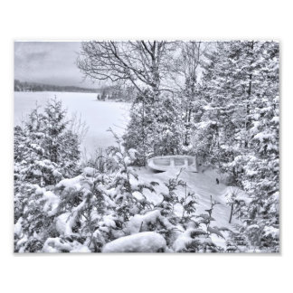 Fishing Boat, Winter Forest, Christmas Snowstorm Photo Print