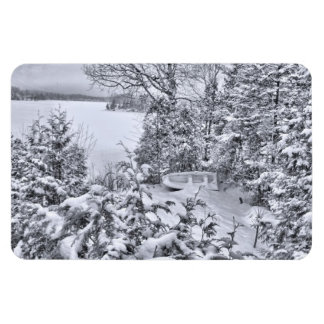 Fishing Boat, Winter Forest, Christmas Snowstorm Rectangular Photo Magnet