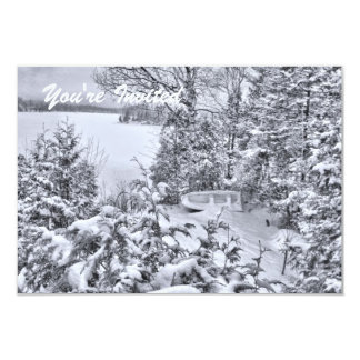 Fishing Boat, Winter Forest, White Christmas RSVP Card