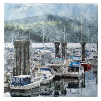 "Fishing Boats 3 Watercolour Art 6"" Decorative Tile"