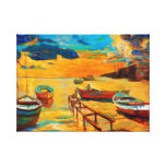 Fishing boats and ocean at sunset gallery wrapped canvas