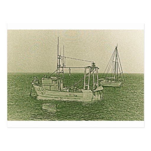 Fishing Boats Art Post Cards