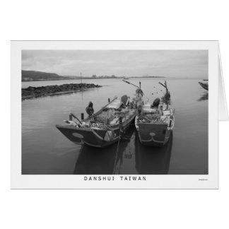 Fishing boats at Danshui, Taiwan Greeting Card