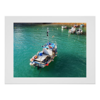 Fishing boats at high tide poster