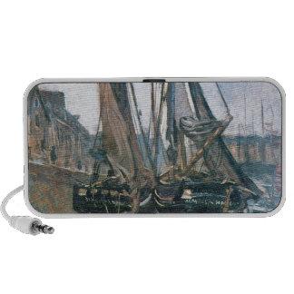 Fishing Boats at Honfleur by Claude Monet Laptop Speaker