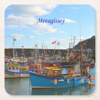 Fishing Boats at Mevagissey Cornwall England Photo Square Paper Coaster