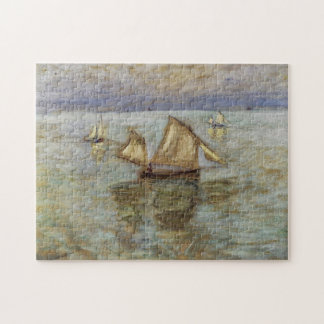 Fishing Boats at Pourville Monet Fine Art Jigsaw Puzzle