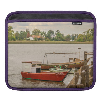 Fishing Boats at Santa Lucia River in Montevideo, iPad Sleeves
