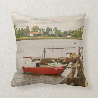 Fishing Boats at Santa Lucia River in Montevideo, Throw Pillow