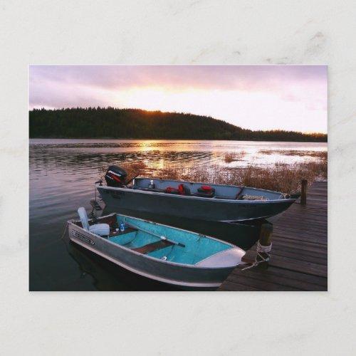 Fishing Boats at Sundown postcard
