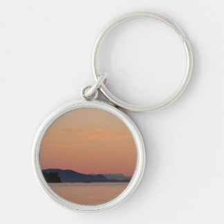 Fishing Boats At Sunset Silver-Colored Round Keychain