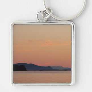 Fishing Boats At Sunset Silver-Colored Square Keychain
