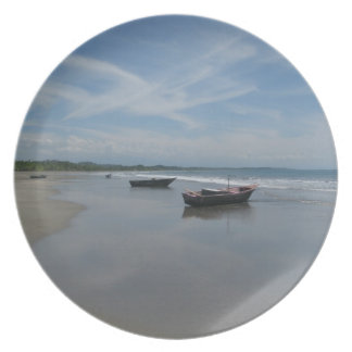 Fishing Boats at the Beach Melamine Plate
