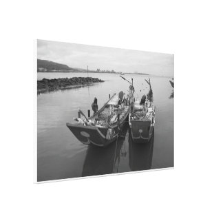 Fishing boats at twilight on the Danshui River Gallery Wrapped Canvas