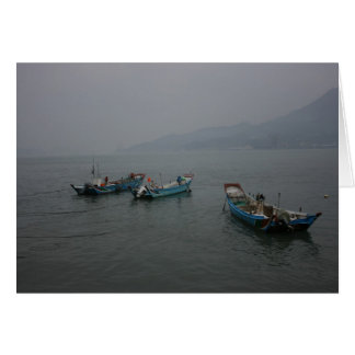 Fishing boats at twilight on the Danshui River Card