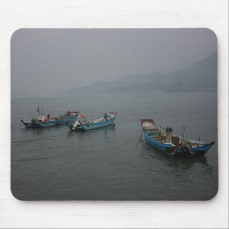 Fishing boats at twilight on the Danshui River Mouse Mats