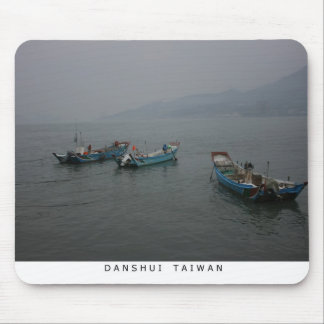 Fishing boats at twilight on the Danshui River Mousemat