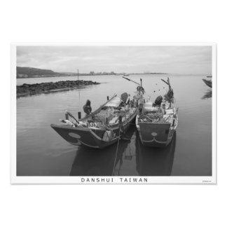 Fishing boats at twilight on the Danshui River Photo Print