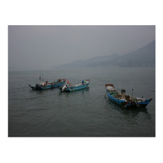 Fishing boats at twilight on the Danshui River Postcard