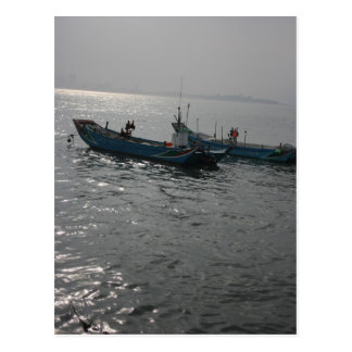 Fishing boats at twilight on the Danshui River, Postcard