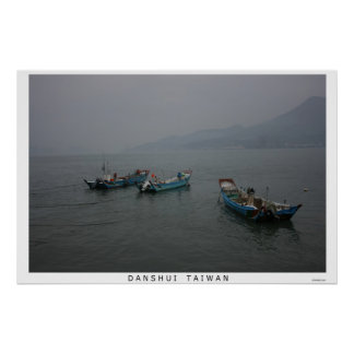 Fishing boats at twilight on the Danshui River Print
