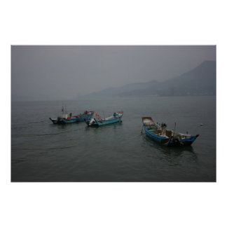 Fishing boats at twilight on the Danshui River Poster
