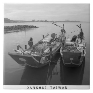 Fishing boats at twilight on the Danshui River Ceramic Tile