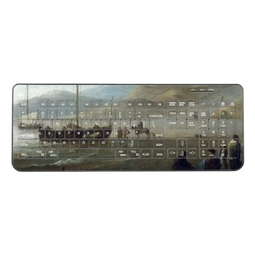 Beach Themed Fishing Boats Beach Ocean Wireless Keyboard