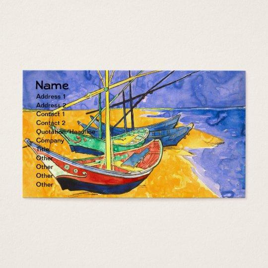 Fishing Boats Beach Saintes-Maries Van Gogh Fine Business Card