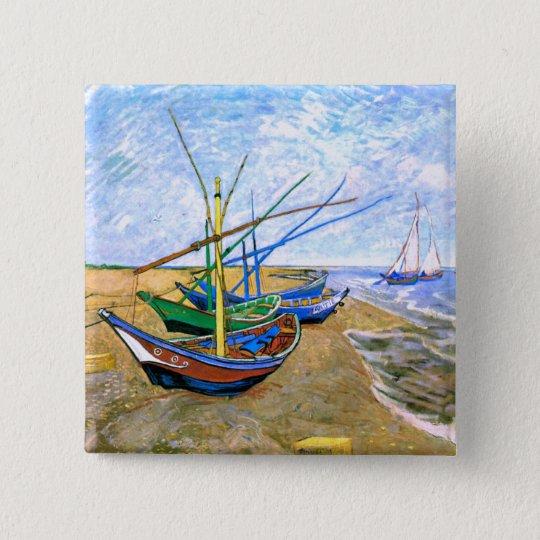 Fishing Boats Beach Saintes-Maries Van Gogh Fine Button