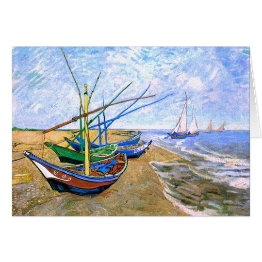 Fishing Boats Beach Saintes-Maries Van Gogh Fine Card