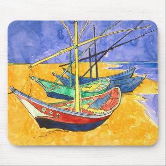 Fishing Boats Beach Saintes-Maries Van Gogh Fine Mouse Pad