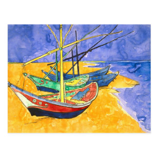 Fishing Boats Beach Saintes-Maries Van Gogh Fine Postcard