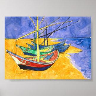 Fishing Boats Beach Saintes-Maries Van Gogh Fine Poster