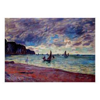 Fishing Boats by the Beach and the Cliffs Print