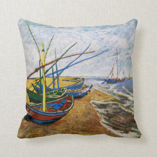 Fishing Boats by Vincent van Gogh Throw Pillow