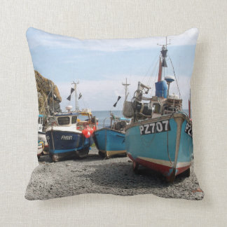 Fishing Boats Cadgwith Cornwall England Throw Pillow