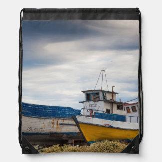Fishing boats drawstring backpack