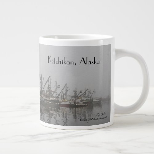 Fishing boats in early morning fog giant coffee mug
