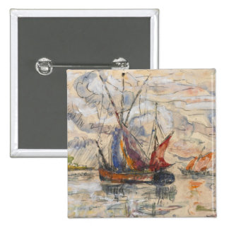 Fishing Boats in La Rochelle, c.1919-21 2 Inch Square Button